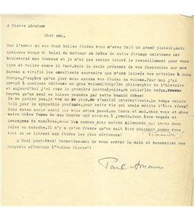 AMANN Paul, écrivain autrichien, traducteur de Romain Rolland. Belle lettre