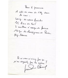 CASSEL Jean-Pierre, comédien. Billet autographe (G 3295)