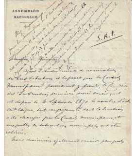"""DUPANLOUP (Félix). Evêque d'Orléans. Lettre à """"Monsieur le Ministre"""" (Réf. G 2733)"""