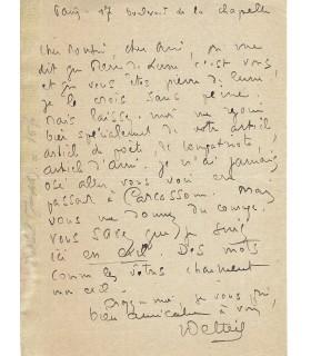 DELTEIL Joseph, romancier, poète. Lettre autographe (E 10476)