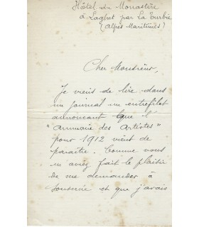 FER Victoria, soprano. Lettre autographe (E 10304)