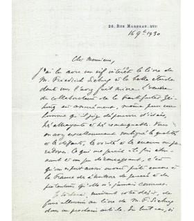 POINCARE Raymond, homme d'Etat. Lettre autographe (G 5192)