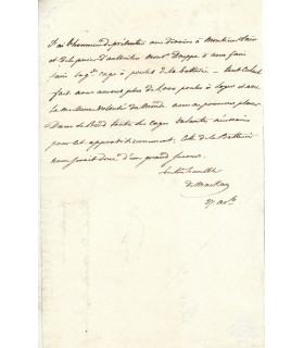 MACKAY, ministre de la Marine. Lettre autographe (G 415)
