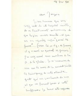 MAURIAC (François), écrivain. Lettre Autographe au père Laval, 1950 (G 5593)