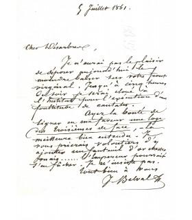 BELVAL Jules, chanteur lyrique. Lettre autographe (E 10017)
