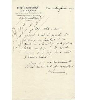 FLAMMARION Camille, astronome. Lettre autographe (G 4030).