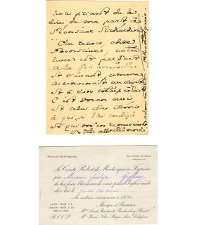 MONTESQUIOU (Robert de). Poète. Ami de Proust. Lettre autographe, 1903 (G 4265)