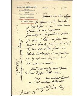 BERILLON (Edgar). Psychiatre. Lettre autographe, 1935 (Réf. E 10497)