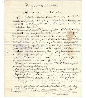 """BERTRON LIBERGE DES BOIS. """"Candidat humain"""" aux élections. 2 lettres autographes (G 2712)"""