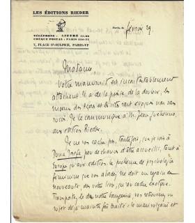 BLOCH (Jean-Richard). Ecrivain, essayiste. 2 lettres autographes (Réf. E 10491)