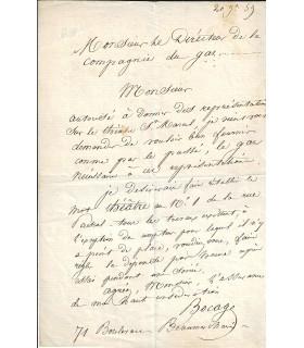 BOCAGE (Pierre Martinien Tousez, dit). Comédien. Lettre autographe (E 10492)