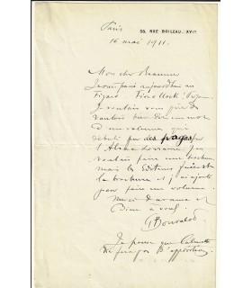 BONVALOT (Pierre Gabriel). Explorateur du Tibet . Lettre autographe, 1911 (Réf. G 837)