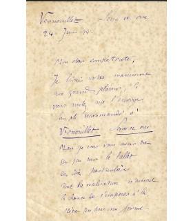 BOURGAULT-DUCOUDRAY (Louis-Albert). Compositeur, Chef d'orchestre. Lettre autographe, 1899 (Réf. G 2443)