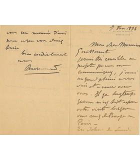BRACQUEMEOND (Félix). Graveur à l'eau-forte. Directeur de la Manufacture de Sèvres. Lettre autographe, 1894 (Réf. G 172)