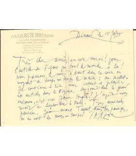 CARZOU (Jean). Peintre et lithographe. Carte postale autographe (Réf. G 5612)