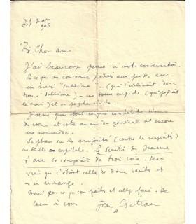 COCTEAU (Jean). Ecrivain, cinéaste. Lettre autographe, 1945 (Réf. G 5622)