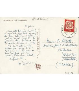 DECARIS (Albert). Peintre et graveur. Carte postale autographe (G 5614)