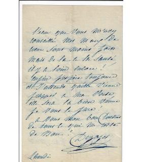 DEJAZET (Virginie). Actrice. Lettre autographe, vers 1874 (Réf. G 5102)