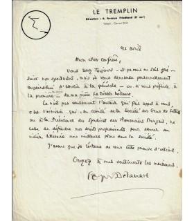 DELAMARE (Georges). Auteur dramatique et homme de radio. Lettre autographe (Réf. G 2121)