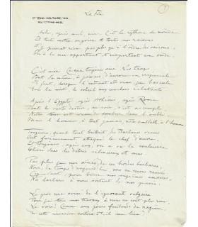 DELARUE-MARDRUS (Lucie). Poétesse, femme de lettres. Poème autographe (Réf. G 4402).
