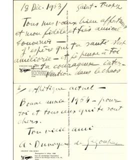 DUNOYER DE SEGONZAC (André). peintre et graveur. Carte postale autographe (Réf. G 5616)