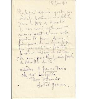 FORAIN (Jeanne, née BOSC). Peintre et sculptrice. Lettre autographe (G 2459)