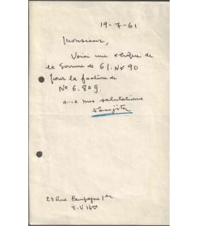 FOUJITA (Leonard). Peintre et graveur japonais, naturalisé français. Billet autographe (Réf. G 4468)