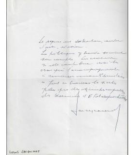 GASTRONOMIE. JACQUINOT (Louis). Homme politique. Billet autographe (Réf. G 3256)