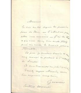 GAVARNI (Paul). Caricaturiste, lithographe. Lettre autographe (Réf. G 3027).