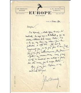 GUEHENNO (Jean). Esssayiste. Lettre autographe, 1930 (Réf. E 10490)