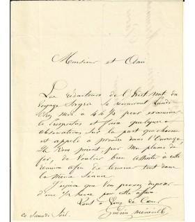 GUERIN-MENEVILLE (Félix). Entomologiste. Lettre autographe (Réf. E 10342)