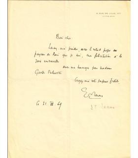 LACAN (Jacques). Psychanalyste. Lettre autographe (Réf. G 5625)