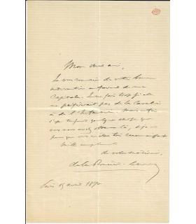 LARONCIERE LE NOURY (Camille, baron Clément de). Amiral. Commandant des Forts de Paris. Lettre autographe, 1870 (Réf. G 147)