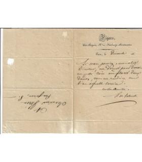 LATOUCHE (Henri de). Poète. Ami de George Sand. Lettre autographe (Réf. E 10311)
