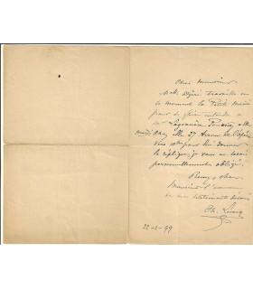 LECOCQ (Charles). Compositeur d'opéras-bouffes. Lettre autographe, 1899 (Réf. G 5617)