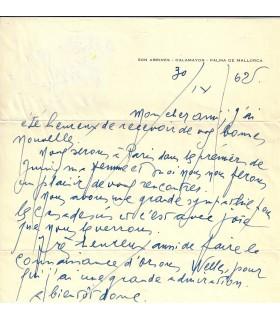 MIRO (Joan). Peintre espagnol. Lettre autographe à Nelson Fuqua, 1962 (G 3633)