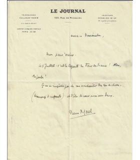 MOREL Pierre. Billet autographe à Jean-Loup FORAIN, Juillet 1938 (Réf. G 2465)
