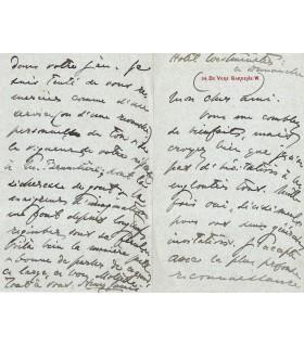 JAMES (Henry), Ecrivain américain. Lettre autographe (G 3661)