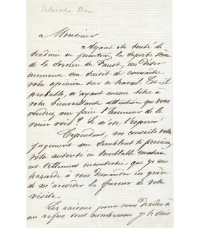 BEMINDT Emile, peintre. Lettre autographe (E 10509)
