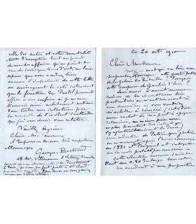 BERTRAND Georges, peintre, portraitiste. Lettre autographe (G 864)