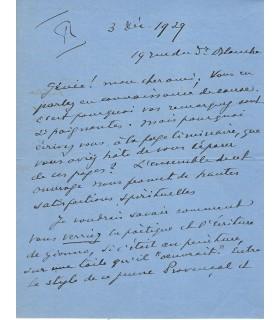 BLANCHE Jacques-Emile, peintre. Lettre autographe (E 10515)