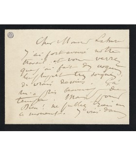 BRETON Jules, peintre. Carte autographe (E 10034)