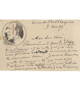 COQUELIN CADET, comédien. Carte autographe (G 5640)