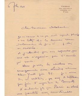 DOMERGUE Jean-Gabriel, peintre. Lettre autographe (G 5339)