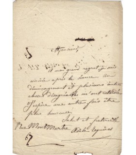 ESQUIROS Adèle, journaliste. Lettre autographe (E 10500)