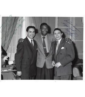 FAMECHON, ROBINSON, boxeur français et boxeur américain. Photographie signée et dédicacée (G 1139)