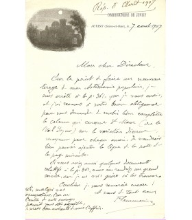 FLAMMARION Camille, astronome. Lettre autographe (G 4031)