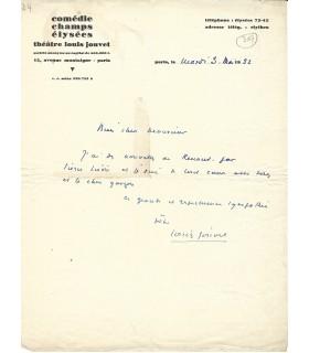 JOUVET Louis, acteur et metteur en scène. Lettre autographe (G 5307)
