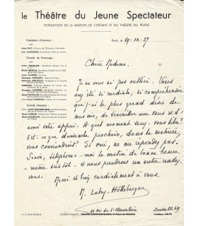 LAHY-HOLLEBECQUE Héloïse, dramaturge, pédagogue. Lettre autographe (E 10487)