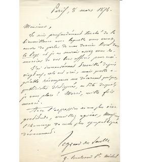 LEGRAND DU SAULE Henri, aliéniste. Lettre autographe (E 10496)